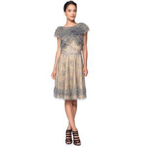 Tadashi Shoji Metallic Lace Tiered Rosette Dress 2